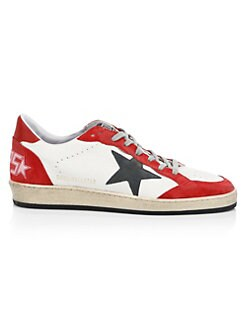 e30f32111ba9 Golden Goose Deluxe Brand. Men s Red   White Ball Suede Sneakers
