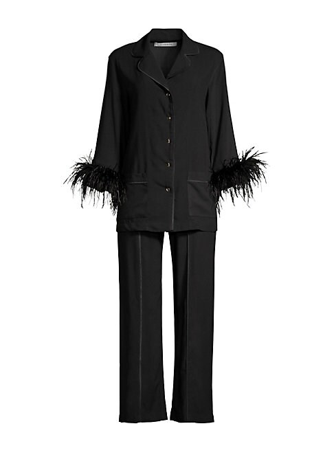 """Image of EXCLUSIVELY AT SAKS FIFTH AVENUE. Chic pajama pant with elastic waist and an easy oversized fit. Elasticized waist. Pull-on style. Straight leg. Viscose. Machine wash. Imported. SIZE & FIT. Oversize fit. Inseam, about 30"""".Rise, about 10"""".Model shown is 5'"""