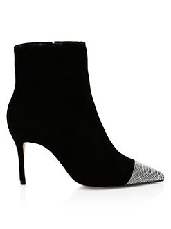 a1c9f7d33266a Schutz. Jeweled Stiletto Suede Booties
