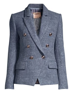 Kenzie Double-Breasted Tweed Blazer in Blue Bird