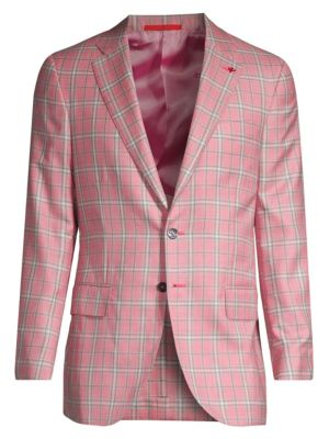 Isaia Plaid Cashmere Silk Single Breasted Jacket