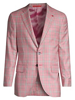 a77ad6faac2 QUICK VIEW. Isaia. Plaid Cashmere   Silk Single-Breasted Jacket