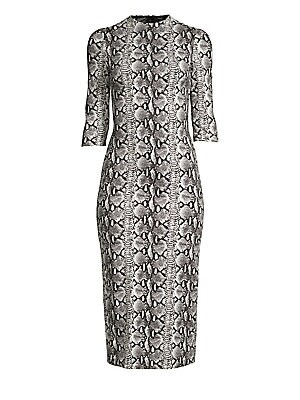 """Image of Allover snakeskin print adorns stretch fit sheath dress. Mockneck Three-quarter sleeves Exposed back zip Lined Viscose/elastane/nylon Dry clean Imported SIZE & FIT About 47"""" from shoulder to hem Model shown is 5'10"""" (177cm) wearing US size 4. Contemporary"""