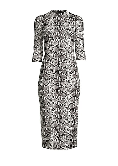 """Image of Allover snakeskin print adorns stretch fit sheath dress. Mockneck. Three-quarter sleeves. Exposed back zip. Lined. Viscose/elastane/nylon. Dry clean. Imported. SIZE & FIT. About 47"""" from shoulder to hem. Model shown is 5'10"""" (177cm) wearing US size 4."""