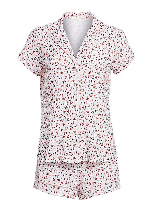"""Image of From the December Collection. Two-piece shirt and shorts set adorned with a lovely cherry print. Modal/spandex. Hand wash. Imported. SHIRT. Notch lapel. Short sleeves. Button front. Chest pocket. About 27"""" from shoulder to hem. SHORTS. Pull-on style. Rise"""