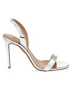 508ce8fa702 Aquazzura. So Nude Metallic Leather Slingback Sandals