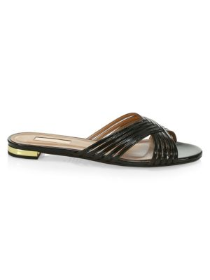 8e70b5f1ebd Aquazzura Hydra Woven Patent Leather Slides