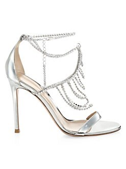 cdcad9d02e02 QUICK VIEW. Gianvito Rossi. Metallic Silver Crystal Ankle Sandals