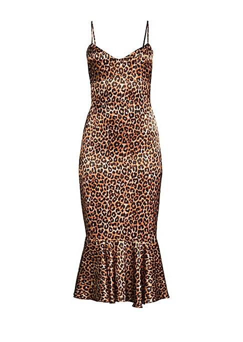 """Image of A ruffled hem adds flair to this leopard print dress. Sweetheart neckline. Adjustable spaghetti straps. Ruffle hem. Concealed back zip. Polyester/spandex. Dry clean. Made in USA. SIZE & FIT. Fit-&-flare silhouette. About 42.5"""" from shoulder to hem. Model"""