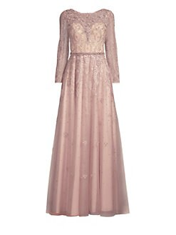 0d2ce69cdc50c QUICK VIEW. Basix Black Label. Long-Sleeve Beaded Lace Gown