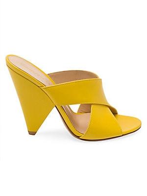 7cb612c1b6 Gianvito Rossi - Leather Triangle Heel Mule Sandals - saks.com
