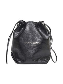 7c93d83a5177 Saint Laurent Teddy Cracked Leather Bucket Bag BLACK. QUICK VIEW. Product  image