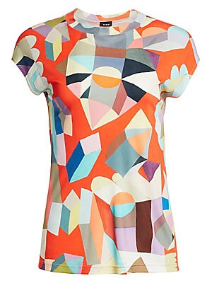 """Image of A bright take on a wardrobe essential, this geometric printed tee is crafted in light silk making it perfect for the office or your day-off. Roundneck Cap sleeves Pullover style Silk Dry clean Imported SIZE & FIT About 23"""" from shoulder to hem Model shown"""