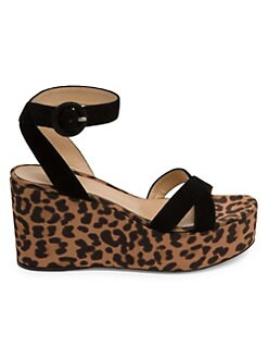 47885b70cd81 Gianvito Rossi. Leopard Suede Wedge Platform Sandals