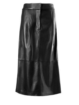 Tibi Pleat Detail Leather Midi Skirt