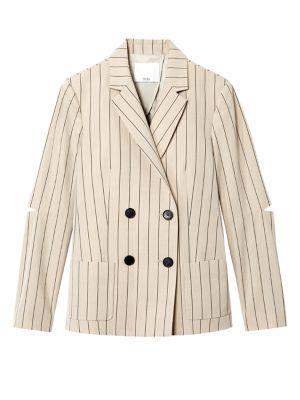 TIBI Tropical Wool Striped Suit Blazer