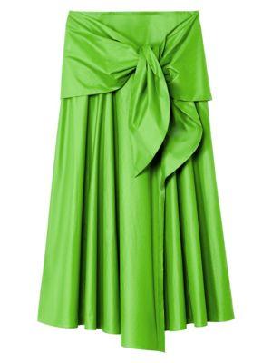 Tibi Glossy Plainweave Tie-Front Midi Skirt