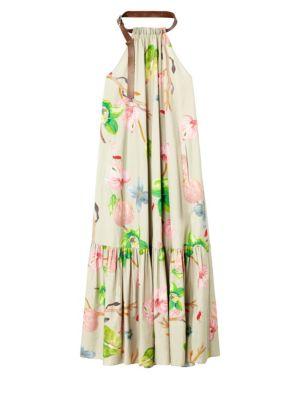 Tibi Linnea Floral Poplin Halter Midi Dress