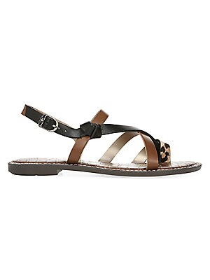 3f5b0820e Sam Edelman - Gladis Leopard Print Calf Hair Leather Sandals