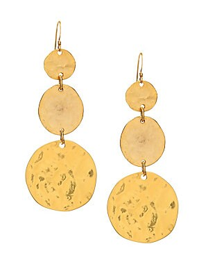 """Image of From the Couture Collection. Stand in the crowd with these goldtone earrings with triple graduating disc. Goldtone Ear wire Imported SIZE Earring drop, about 3"""". Fashion Jewelry - Trend Jewelry. Kenneth Jay Lane. Color: Gold."""