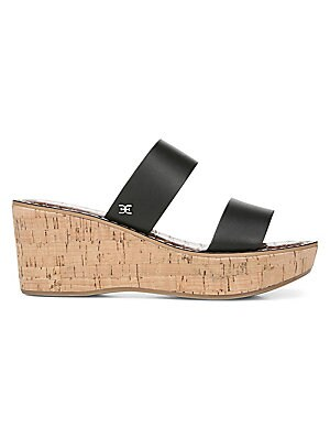 """Image of Chic double strap sandals with wedge heel crafted in smooth leather. Leather upper Open-toe Slip-on style Leather lining Synthetic sole Imported SIZE Wedge heel, 2.75"""" (69mm). Women's Shoes - Contemporary Womens Shoe. Sam Edelman. Color: Black. Size: 6.5."""