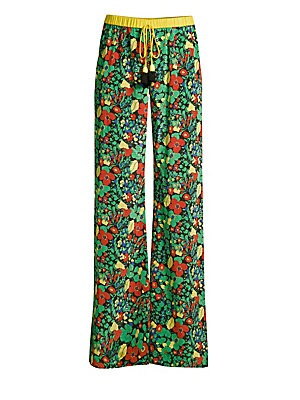 "Image of A 1960s-inspired floral print adorns these wide-leg tassel-trimmed trousers. Elasticized drawstring waist Pull-on style Polyester Dry clean Imported SIZE & FIT Wide-leg silhouette Model shown is 5'10"" (177cm) wearing US size Small. Contemporary Sp - Trend"