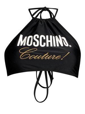 Moschino Beachwear Flash Swim Couture Graphic Halter Bikini Top