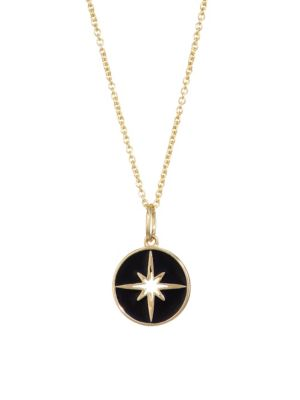 Sydney Evan 14k Yellow Gold Enamel Starburst Medallion Necklace