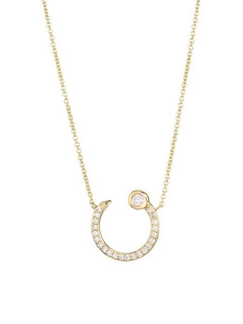 14K Yellow Gold & Pave Diamond Horseshoe Nail Necklace