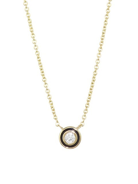 Diamond, Enamel & 14K Yellow Gold Single Stone Pendant Necklace