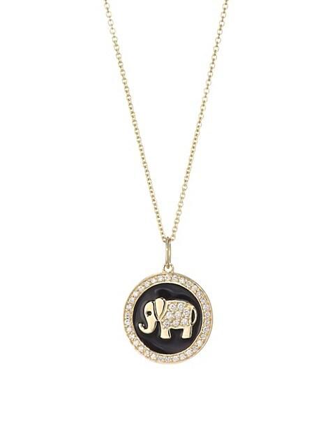 Pavé Diamond & 14K Yellow Gold Enamel Elephant Pendant Necklace