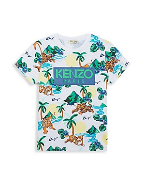 Image of A bright jungle print adds playfulness to this soft cotton tee finished with patch logo embroidery. Crewneck Short sleeves Pullover style Cotton Machine wash Imported. Children's Wear - Contemporary Children. Kenzo. Color: White. Size: 2.
