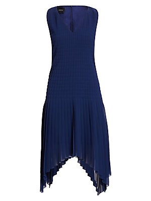 Image of A celebration of movement, this sleeveless V-neck swing dress is defined by its quilted bodice and asymmetric plissé chiffon hem. V-neck Sleeveless Concealed back zip Quilted bodice Asymmetric plissé hem Silk lining Polyester Dry clean Imported SIZE & FIT