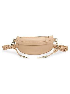 "Image of Braided belt lends an artisanal touch to this supple leather belt bag to embody a bohemian spirit. Removable braided belt Zip front Silvertone hardware One exterior back zip pocket Fully lined Leather Made in Italy SIZE 10.6""W x 4.72""H. Handbags - Collect"