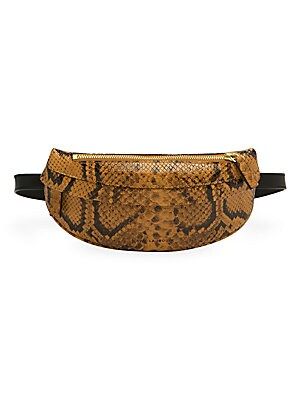 "Image of Add texture and glamorous to your look with this snake-embossed belt bag. Top zip closure Adjustable Belt strap Cotton lining Leather Made in Italy SIZE 10.6"" W x 4.7"" L Strap, 13.5"" drop. Handbags - Collection Handbags. Avec La Troupe."