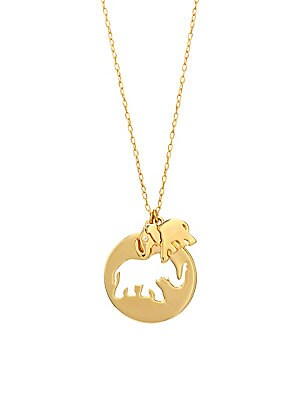 Crystal & 12 K Yellow Goldplated Elephant Pendant Necklace by Kate Spade New York