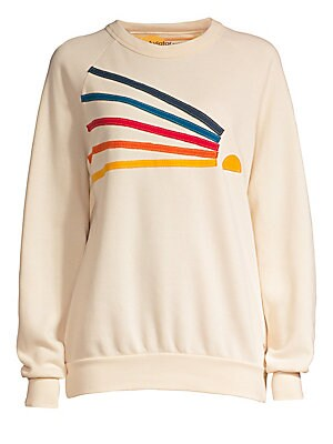 "Image of Casual cotton-blend pullover flaunts colorful embroidered sun design. Crewneck Long sleeves Pullover style Cotton/polyester/rayon Machine wash Made in USA SIZE & FIT About 25"" from shoulder to hem Model shown is 5'10"" (177cm) wearing US size Small. Contem"