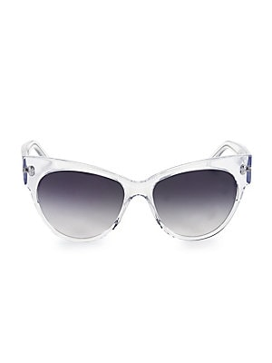 Image of Mod sunglasses with minimal styling. Acetate Imported SIZE 58mm lens width 16mm bridge width 140mm temple length. Soft Accessorie - Sunglasses > Saks Fifth Avenue. Andy Wolf. Color: Clear.
