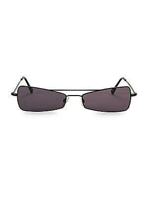 Image of Inverted rectangle lenses lend geometric accents to these sunglasses. Solid black lenses Metal Made in France SIZE 56mm lens width 18mm bridge width 140mm temple length. Soft Accessorie - Sunglasses > Saks Fifth Avenue. Andy Wolf. Color: Black.