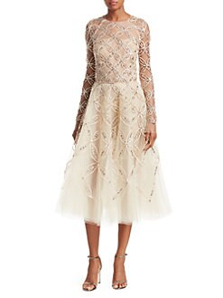 5ae8c4e051625 Oscar de la Renta. Long Sleeve Embroidered ...