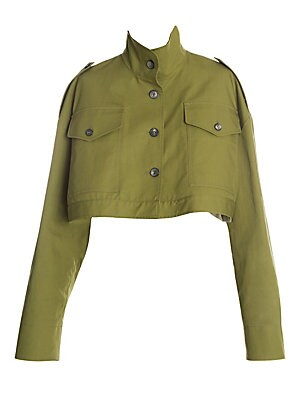 """Image of The military-classic M65 jacket is re-imagined with a rounded shape, exaggerated sleeves, and truncated hem. """"Woman"""" is printed on the back as a cheeky reference to the field jacket's historical menswear roots. The overall look embodies Off-White's youthf"""