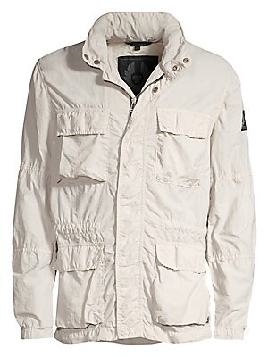 Image of This utilitarian jacket with various pockets are constructed into a crinkled paneled design. Removable bungee cord hood Long sleeves Elasticized cuffs Zip front with concealed snap-button closure Chest flap pockets Waist snap patch pockets Polyamide Machi