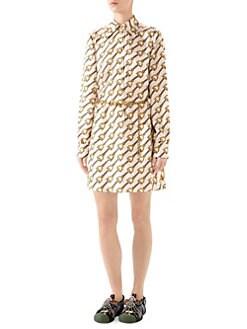 cedf29e13 Gucci. Stirrup Rain Printed Silk Twill Shirtdress