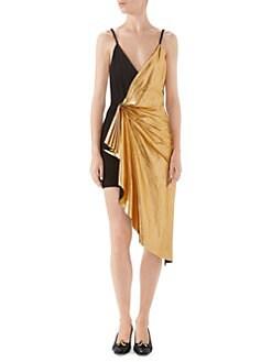 c1d14c7ef Gucci - Metallic Leather & Suede Ruched V-Neck Mini Dress