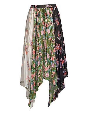 eacac76efb AMUR - Mica Floral Pleated Patchwork Handkerchief Midi Skirt