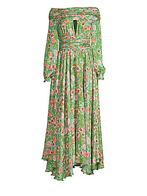 Image of Allover floral print adorns luxe silk dress with feminine ruching and pleat details in a shoulder-baring silhouette. Off-the-shoulder Keyhole neck Long sleeves Elasticized ruffle cuffs Concealed back zip with hook-and-eye closure Ruching and pleat details