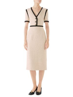 29f57d545 Gucci - Bouclé Tweed Short Sleeve V-Neck Dress - saks.com