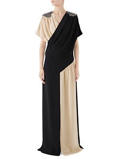 Gucci. Embellished Silk Wrap Gown