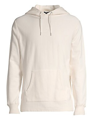 """Image of Airy drawstring hoodie is an athleisure essential finished with logo embroidery. Attached drawstring hood Long sleeves Rib-knit cuffs Pullover style Front kangaroo pouch Cotton/elastane Machine wash Imported SIZE & FIT About 28"""" from shoulder to hem. Men"""