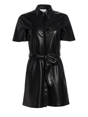 cb0e8baa3144ac Shoptagr | Roberta Vegan Leather Shirt Dress by Nanushka
